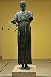 Auriga de Delfos, en bronce, 475 a.C., Museo Arqueológico de Delfos