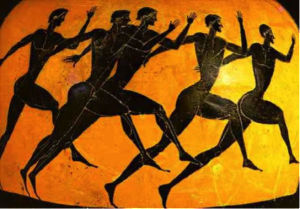 Carrera atlética. Cerámica  griega,  530-520 a.C.  Metropolitan Museum.
