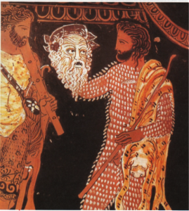 Actor griego sosteniendo  su máscara trágica. Detalle de una vasija griega, siglo IV a.C.