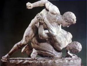Los luchadores. S. III a.C., copia romana en la Galería Uffizi, Florencia.