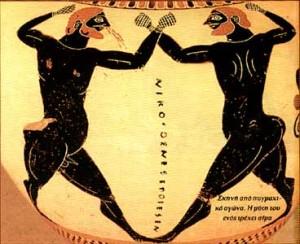 Pugilato con uno de los boxeadores sangrando por la nariz. Cerámica ática, 520-510 a.C.,British Museum.