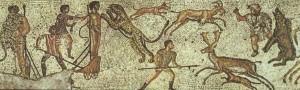 Mosaico de la villa romana de Dar Buc Ammera en la aldea de Zliten (Libia), s. I-II d. C., en el que figuran prisioneros africanos devorados por las fieras.