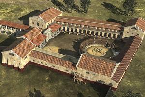 Reconstrucción virtual de la escuela de gladiadores de la antigua ciudad romana de Carnuntum, a 40 kms al Este de Viena.
