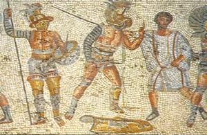 Mosaico de la villa romana de Dar Buc Ammera encontrado en la aldea de Zliten (Libia) , s. I-II d. C. Se representa aquí el momento en que el árbitro detiene el combate librado por un hoplómaco y un mirmilón. Vencido éste último, levanta, tras dejar su escudo en la arena, el índice de su mano izquierda pidiendo clemencia a los espectadores.