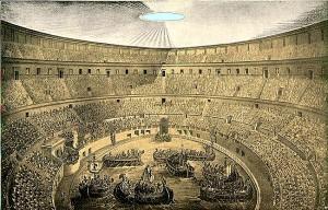 Dibujo ilustrativo de una de las dos naumaquias que se celebraron en la arena del Coliseo después de llenarla de agua.