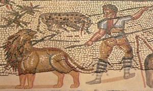 """Detalle de un mosaico romano de """"Villa Laura"""", actual Villelaure, en el sur de Francia, s. III d. C., Museo de Arte de Los Angeles. En él figura un bestiario luchando contra un león."""