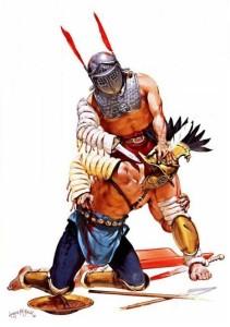 Un provocator a punto de clavar su espada corta en el cuello de un hoplómaco.