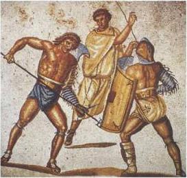 Mosaico romano, s. II-III d. C., encontrado en la villa romana de Nennig, al sudoeste de Alemania. Representa a un reciario que embiste con su tridente a un secutor ante la atenta mirada del juez del combate.