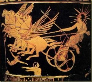 Apolo conduciendo el carro solar, crátera ática, s. V a. C. British Museum, Londres.