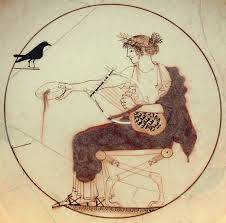 Apolo representado en un Kylix griego del s. V a.C. Museo Arqueológico de Delfos.