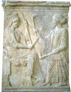 Deméter y Perséfone. Relieve en mármol, principios del siglo V a.C. Museo de Eleusis (Grecia).