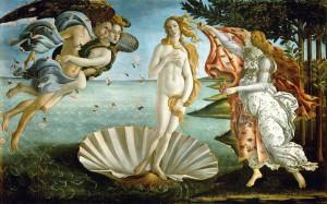 El nacimiento de Venus, de Sandro Botticelli, 1484-1486. Galeria Uffiz. Florenciai