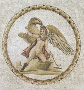 Rapto de Ganimedes, mosaico romano  principios del s. III d.C., procedente de Susa. Museo del  Bardo (Túnez)