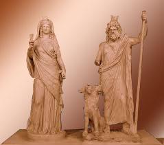 Hades y Perséfone con el Can Cerbero, Museo de Heraklion (Creta)