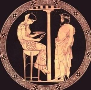 El rey Egeo consulta a la Pitonisa de Delfos, cerámica griega del siglo V a. C. Museo de Antigüedades de Berlín.
