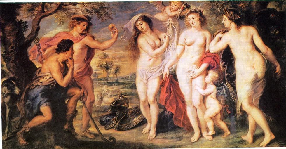 El juicio de Paris, de P.P. Rubens, 1639. Museo  Nacional del Prado, Madrid.