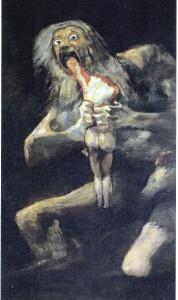 Saturno (Crono) devorando a sus hijos. Goya. Museo del Prado.
