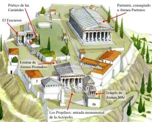 Acrópolis de Atenas, s. V. a. C. (reconstrucción).