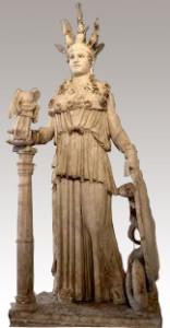 Atenea Partenos, copia romana en mármol, la más fiel a la original, según algunos autoes, s. II d. C.. Museo Arqueológico Nacional de Atenas.