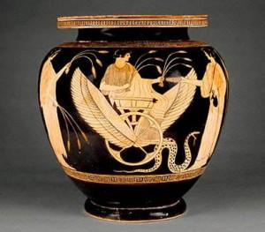 Triptolemo cerámica griega de figuras rojas. ca. 470 a. C.  Museo Getty (California)