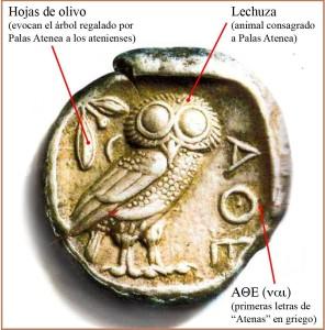 Moneda ateniense de plata, anterior al año 403 a.C., como acredita la E de la palabra 'ΑΘЄ(ναι), la cual fue sustituida, a partir de ese año, por la H, su vocal larga correspondiente.