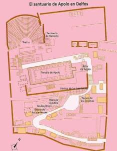 Plano del Santuario de Delfos. El camino marcado en blanco es la Vía Sacra. Fuente: httpwww.guiadegrecia.comgreciacentraldelfos.html