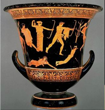 Apolo y Ártemis asaetean a los hijos de Níobe. Cerámica griega,  (Atenas, 460-450 a.C.), Museo del Louvre, París.