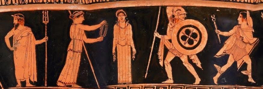 Creación de Pandora. De izquierda a derecha: Poseidón, Atenea, Pandora, Ares y Hermes. Crátera de figuras rojas, ca. 460 a.C. Museo Británico.