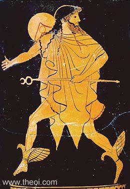 Hermes, con sus principales atributos, del pintor Titono, lekito ático de figuras rojas, 500-450 a.C. Museo Metropolitano de Nueva York.