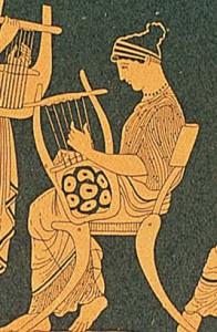 Mujer tocando la lira, cuya invención atribuyeron los griegos a Hermes.