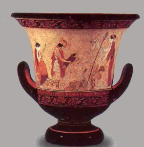 Hermes entrega al recién nacido Dioniso a Atamante . Crátera griega, ca. 440 a.C., Museo grecorromano-etrusco. Vaticano.