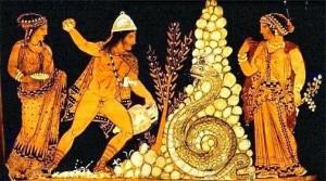 Cadmo luchando contra el dragón en presencia de Harmonia y Atenea, Crátera de Pestum, ca 350 a.C., Museo del Louvre, Paris.