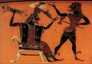 Nacimiento de Atenea de la cabeza de Zeus con la ayuda de Hefesto. Kylix ca 560-550 a.C. British Museum, Londres.