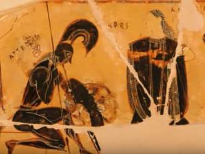 Ares derrotado por Atenea. Escena del Vaso François de figuras negras del pintor Cleitias, ca 570 a. C. Museo Arqueológico de Florencia.