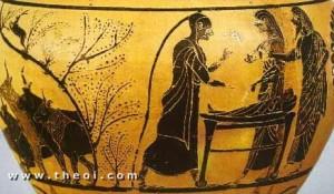Hermes niño, Apolo y Maia. Cerámica de figuras negras, ca. 520 a, C. Museo del Louvre