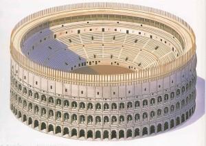 Reconstrucción del Anfiteatro Flavio, también conocido como Coliseo