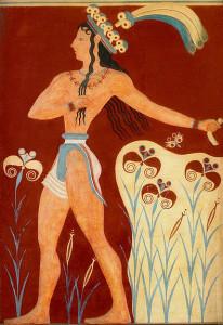 Príncipe de los lirios. Museo de Heraklion. Evans lo identificó con el rey Minos, pero podía representar a un personaje de la nobleza.
