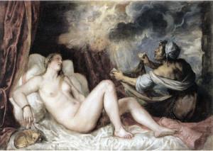 2.Dánae recibiendo a Júpiter en forma de lluvia de oro, de Tiziano. Museo del Prado