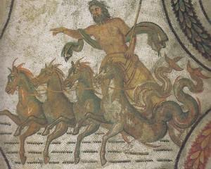 Poseidón recorriendo el mar en su cuadriga. Mosaico romano de finales del s. II d.C. originario de Susa. Museo del Bardo (Túnez)