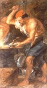 Vulcano forjando los rayos de Zeus, de Pedro Pablo Rubens (1636-1638). Museo del Louvre