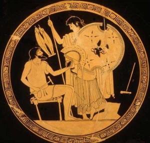 Hefesto entrega a Tetis las armas que ha fabricado para su hijo Aquiles. Kylis, ca. 480 a.C. Antikenmuseum, Berlín.