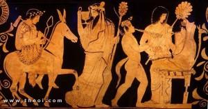 Hefesto se presenta a Hera, apresada en su trono, acompañado de Dionisos y un sátiro. Cerámica griega, ca. 430 - 420 a.C.
