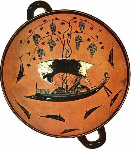1)Dioniso en una nave a vela en cuyo mástil se entrelaza una parra cargada de racimos. Kylix de figuras negras (ca. 530 a. C.) del pintor Exequias. Gliptoteca de Munich.