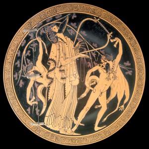 Dioniso y sátiros. Crátera de figuras rojas (ca. 480 a. C.). Sala de Medallas de la Biblioteca Nacional de Francia.
