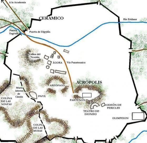 Plano de la antigua ciudad de Atenas