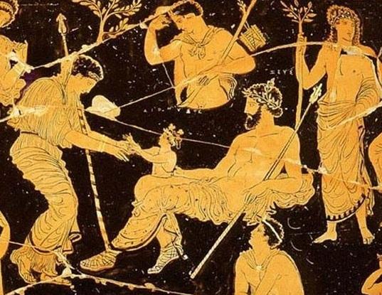 ) Dioniso naciendo del muslo de Zeus. Crátera de figuras rojas (s. lV a. C). Museo Arqueológico de Tarento (Italia)