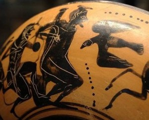 Heracles liberando a Prometeo. Cerámica de figuras negras, s. V a.C. Museo del Louvre.