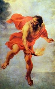 Prometeo bajando el fuego a los hombres, de Jan Cossiers, s. XVll. Museo del Prado.