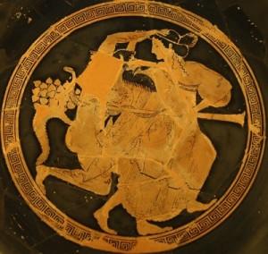 Sátiro persiguiendo a una Ménade. Cerámica griega del pintor Euphronios, ca. 500 a. C. Museo del Louvre