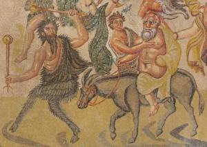 Sileno en burro sujetado por un sátiro. Mosaico de la villa romana descubierta en Noheda, Cuenca